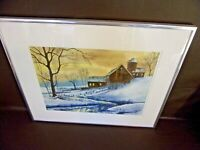 Framed Winter Barn Scene Print By Rosalie Gagnon