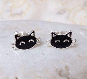 Sterling Silver Black Cat Enamel Ear Stud Earrings - Solid Sterling Silver 925