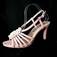 Anne Klein Strappy Sling Back Dress Heels 10M Pearls Blush Pink Suede Open Toe