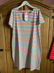 JOULES WOMENS RIVIERA JERSEY DRESS AHOY EMBROIDERY CREAM RED BLUE STRIPE SIZE 16