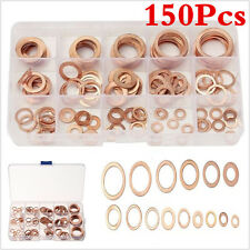 150Pcs Assorted Solid Copper Washers Seal Flat Ring For Fuel Hydraulic Fittings