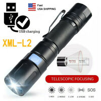 9000LM LED XML-L2 Flashlight Zoomable 5 Modes USB Rechargeable 18650 Torch Clip