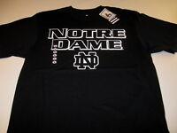 University of Notre Dame Black w/ Bold Bright White Graphics T-Shirt New! NWT LG