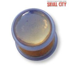WHITE Opal oro Gemstone Fakeplug-Fake piercing Stone Plug pietra orecchini a bottone
