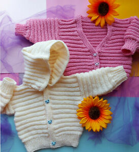 Baby Boy Girls Easy Hooded Jacket Cardigan KNITTING PATTERN DK 12 - 28 Premature