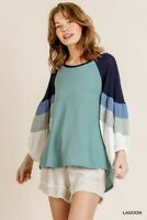 Umgee Color Block Waffle Knit Puff Sleeve Top