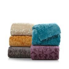 Highgate Manor Damask Scroll Plush Blanket - Full/Queen Teal