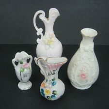 Vtg Small Porcelain Bud Vase and Pitcher Lot of 4 Miniature Decor Craf