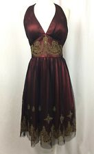 Aspeed Halter Dress Special Occasion Prom Red Satin Black Overley w Gold Size S
