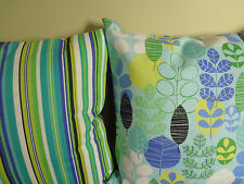 Pillow Cover Stripes and Leavs White Blue Purple Green Black Yellow pattern