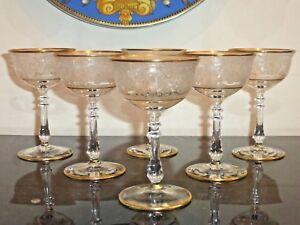 VINTAGE ETCHED GOLD RIM 3 OUNCES LIQUOR GLASSES SET OF 6