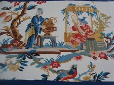 """Remnant BRUNSCHWIG FILS CHINOISE LE LAC LINEN DRAPERY FABRIC 15"""" x 26"""" Red Blue"""