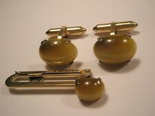 Tiger's Cat's Eye Cabochon Vintage Cuff Links & Tie Bar set Father Day Gift