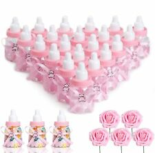 Feeding Bottle Candy Box with 5 Pcs Artificial Flower Rose for Baby Shower, Pink