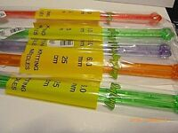 6 mm Plastic Acrylic Light Weight Smooth Knitting Needles Bright Random Colours