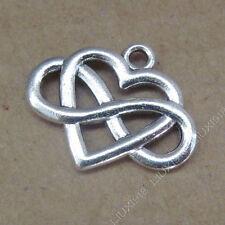 10pc Retro Charms Heart Infinity Friendship Pendant Beads Jewellery Making