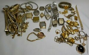 VTG LOT OF MEN LADIES GOLD FILLED WRIST WATCHES G.F BANDS SCRAP RECOVERY JEWELRY