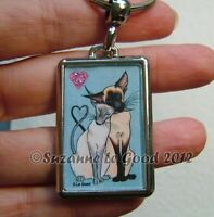 Siamese Cat art keyring key chain handbag charm from painting by Suzanne Le Good