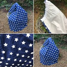 🌈1 Pair Navy Blue Star Print Blackout Lined Cotton Curtains Boys Girls Bedroom