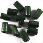 Set de 50 cuentas de madera Tubería 6 x 10 mm Verde oscuro