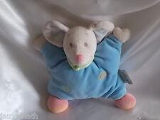 Doudou souris bleu, spirales, grelot, semi-plat, Nattou