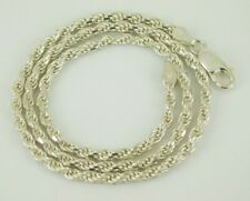"""925 Sterling Silver Italy 3.0mm Rope Chain Necklace 16"""" Long"""