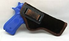 SUEDE LEATHER INSIDE PANTS GUN HOLSTER - FULL SIZE AUTOS Beretta 92 & 1911 BRN