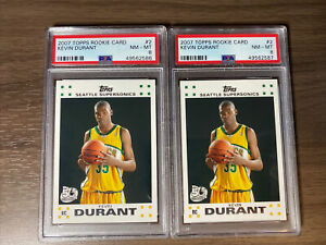 2007 Topps Rookie Card Kevin Durant RC #2 PSA 8 Lot Of 2