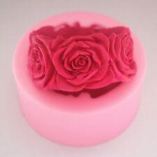 Moule Rond Fleurs Roses Bougie Savon Silicone Pour Bonbons Loisirs créatifs