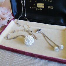 Vintage SWAROVSKI Crystals Disco Ball Necklace & Earrings Sterling Silver Set