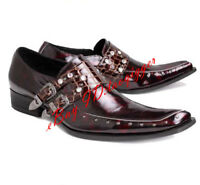 Mens Rivet Buckles Pointed Toe British Shoes Croco Formal Dress Slip on Leather