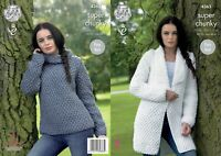 KNITTING PATTERN Ladies Very Easy Knit Coat and Polo Jumper Super Chunky 4363