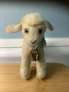"""STEIFF VINTAGE LAMBY 5"""" Chest tag Only Original Ribbon bell"""