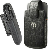 Leather Swivel Holster Case Cover Pouch Fits Blackberry Q10 HDW-50678-001 Black