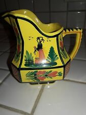 Vintage HB HenRiot Quimper France Soleil Yellow Tea/Coffee Creamer Art Pottery