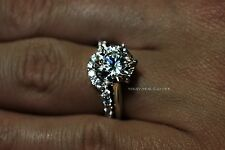 4.45 ct Real White gold 14K Solitaire Matching Wedding Engagement Rings set