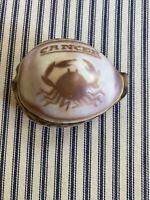 Vintage Hand Carved Cowrie Shell Zodiac Cancer Crab Souvenir