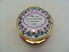 Halcyon Days Enamels Trinket Box What Joy Is Welcomed Like A Newborn Child