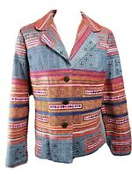 Coldwater Creek jacket 12 P embroidery embellished blue cotton twill
