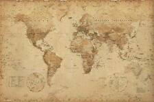 World Map Poster Ye Old Parchment  Style New - Laminated Available