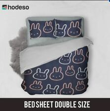 Hodeso Bedsheet Bunny Design Double Size With FREE Two Pillow Cases (Dark Blue)