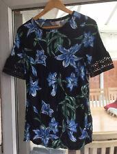 Dorothy Perkins Maternity Size 10 Black & Blue Floral Print Top.              a