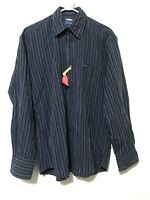 Faconnable Mens Button Up Long Sleeve Dress Shirt Blue Striped Size Medium