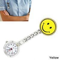 Nurse Smiley Face Alloy Clip-on Fob Brooch Pendant Pocket Quartz Watch YELLOW AE