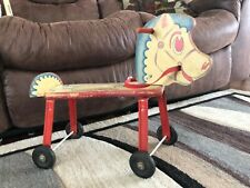 Vintage Gong Bell Lithograph Wooden Ride on Horse. 1940s-1950s