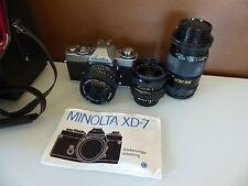 Minolta XD-7 + Minolta MD 1:1.7 50mm + 1:2.8 28mm + 1:3.5 200m analog Kamera