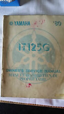 Yamaha IT125G IT 125 G Owners and Service Manual 1980