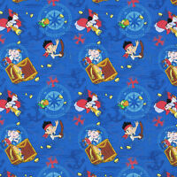 Disney Jake Neverland Pirates Treasure Ahoy 100% cotton fabric Remnant 32""