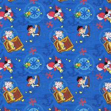 "Disney Jake Neverland Pirates Treasure Ahoy 100% cotton fabric Remnant 32"""