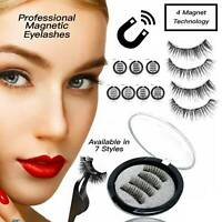 3D Magnetic Eyelashes Reusable Triple Magnet Long False Eye Lashes Extension UK~